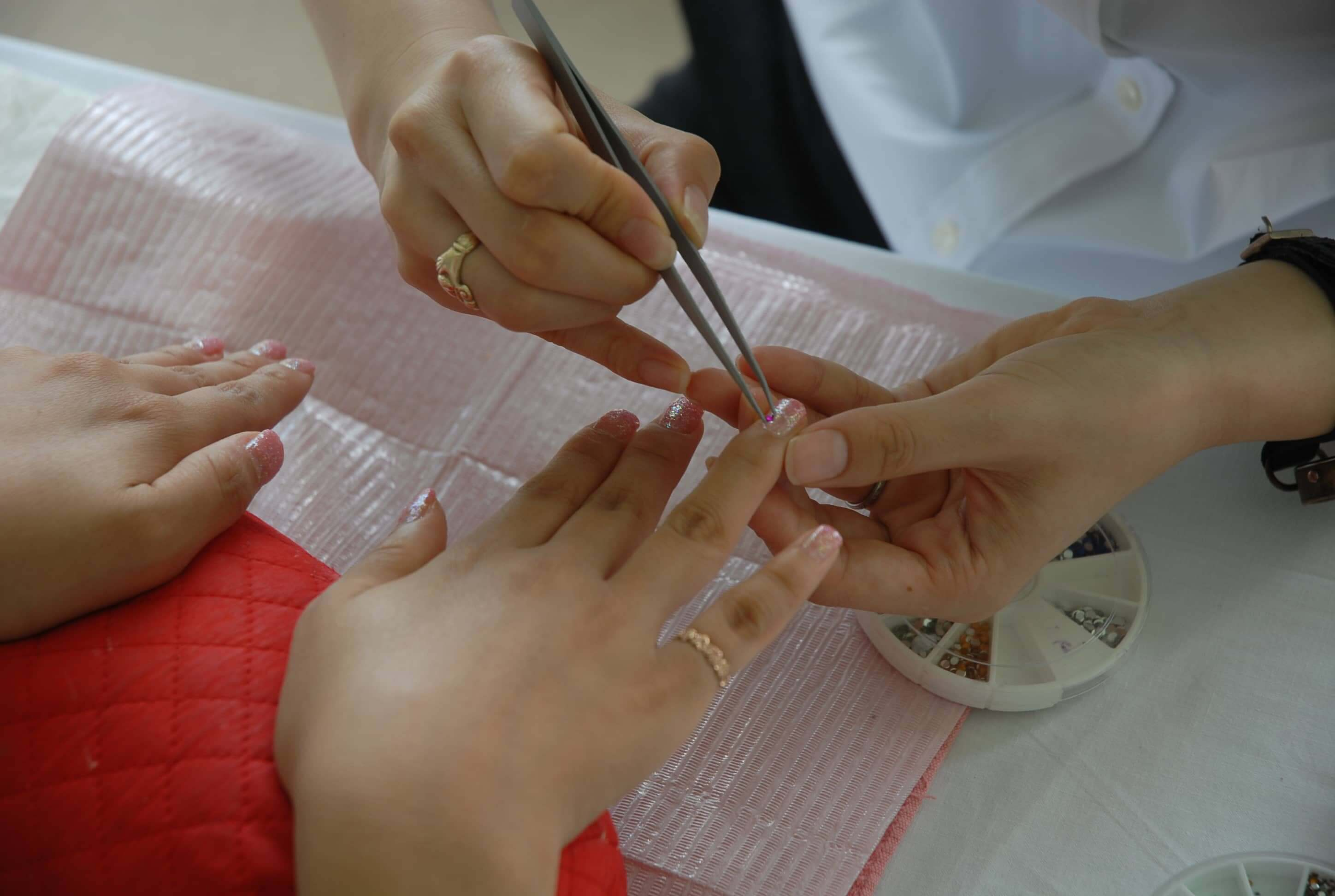 A picture of manicure process