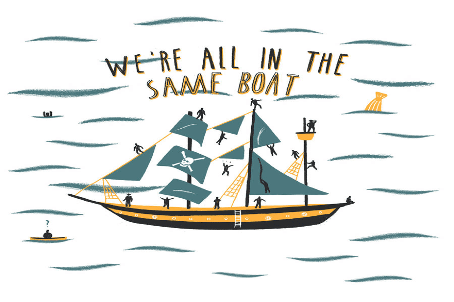 Illustration of we're sailing in same boat.